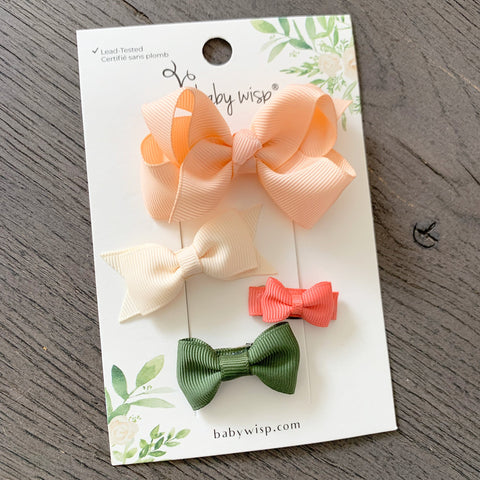 Small Snap Clip Spring Sampler - 4 Cute Grosgrain Bow Set