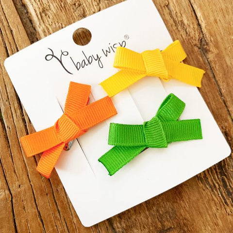 Cute Thanksgiving Hair Bow Set - 3 Baby Hair Clips - Baby Wisp