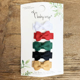 5 Christmas Colors Toddler Hair Bow Gift Set - Baby Wisp