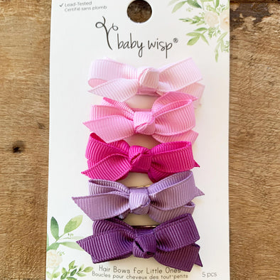 Valentine 5 Small Snap Bows Collection - Purple Tulips - Baby Wisp