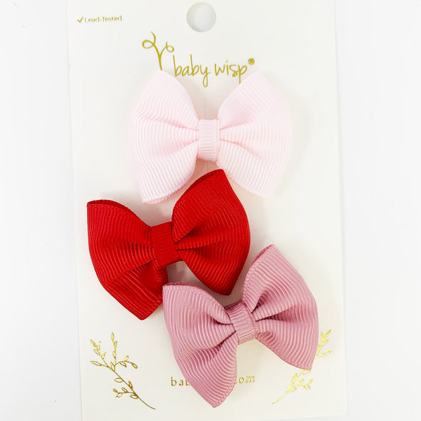 Valentine Set - 3 Classic Bows - Beloved - Baby Wisp