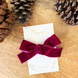 Velvet Hair Bow - Alligator Clip (1 inch Ribbon)