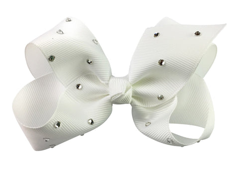 Americana Bow Pinch Clip - Sparkle - White - Baby Wisp