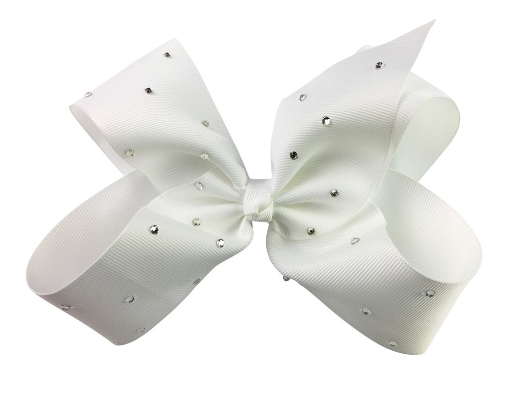 Nicki Bow Pinch Clip - Sparkle - White - Baby Wisp