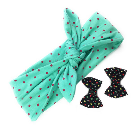 Top Knot Headband and I Heart U Bow Set - Heartthrob - Baby Wisp