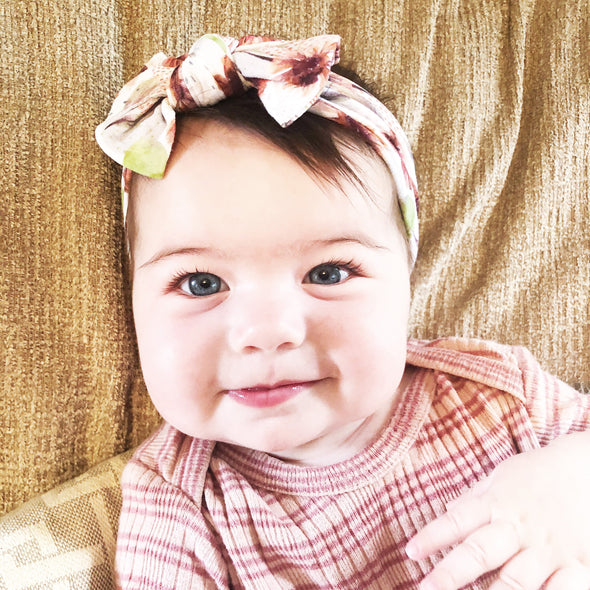 Infant Headwrap Nylon Bow Floral Headband - Isla - Baby Wisp