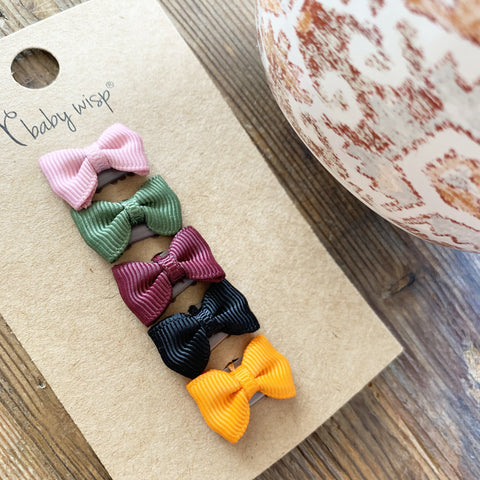 Fall 5 Tiny Tuxedo Wisp Clips Baby Bow Gift Set - Baby Wisp