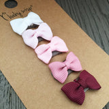 5 Tuxedo Grosgrain Baby Bows Gift Set - Mini Latch Wisp Clip - Baby Wisp