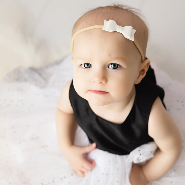 2 Infant Headbands - Mia Faux Suede Bows - Baby Wisp