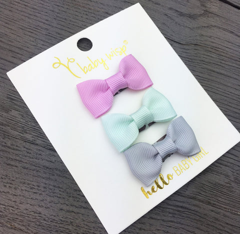 3 Mini Latch Wisp Clip Charlotte Bows Gift Set - Icelandish - Baby Wisp