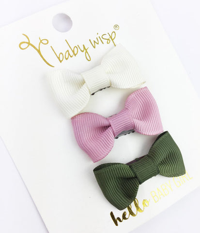 3 Mini Latch Wisp Clip Charlotte Bows Gift Set - Road Trip - Baby Wisp