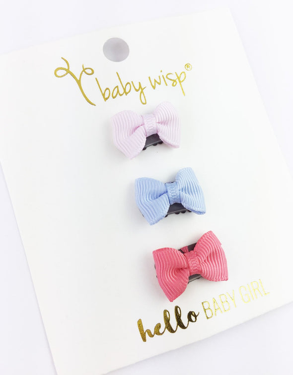 3 Mini Latch Wisp Clip Tuxedo Grosgrain Bow Gift Set- Funny Bunny - Baby Wisp
