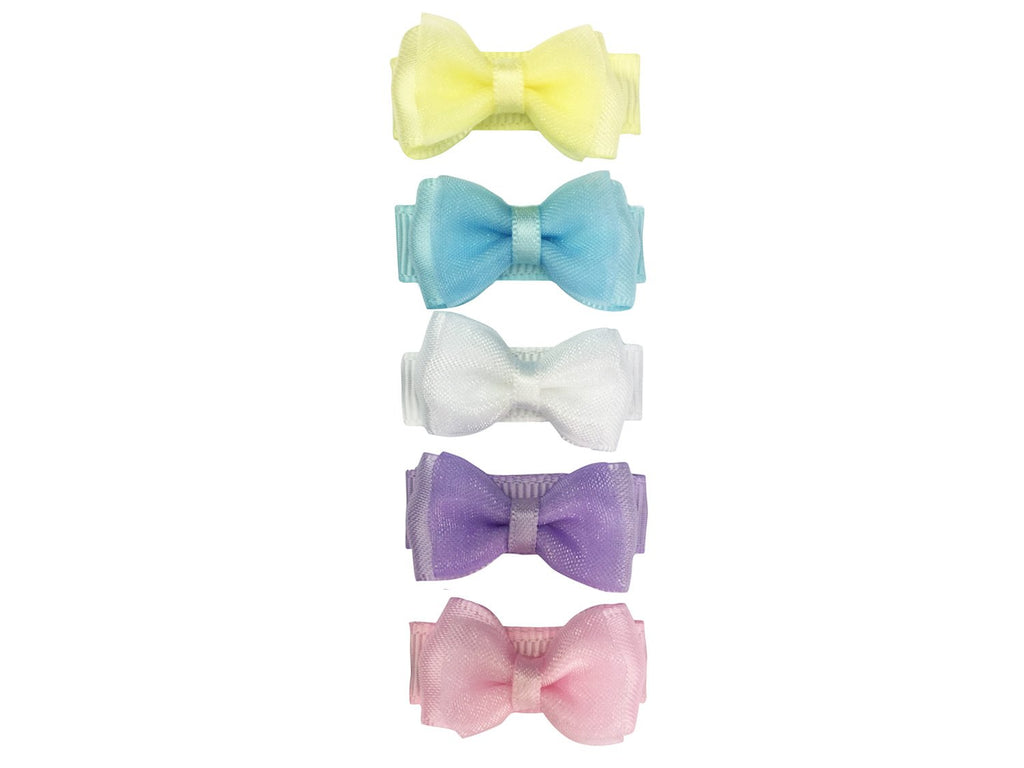 Small Snap Fancy Bows - Perfect Pastels - Baby Wisp