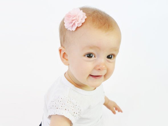 Mini Latch Dahlia Flower Clip - White with Polka Dots - Baby Wisp