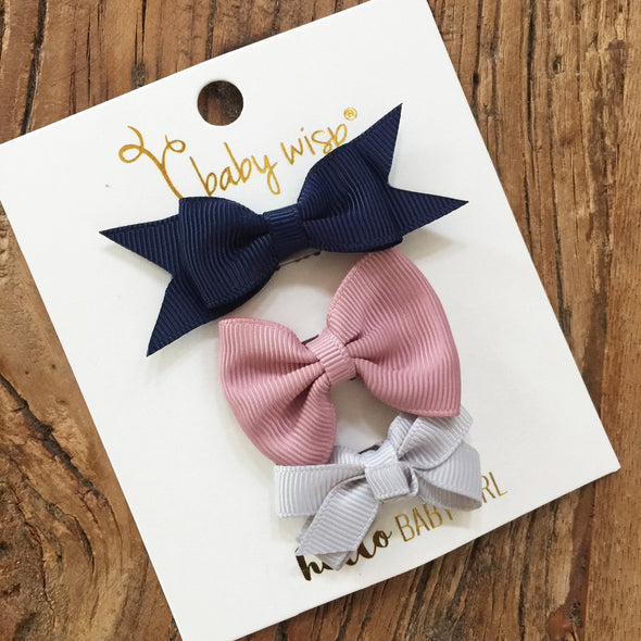 3 Mini Latch Wisp Clip Mixed Bows for Fall - Baby Wisp