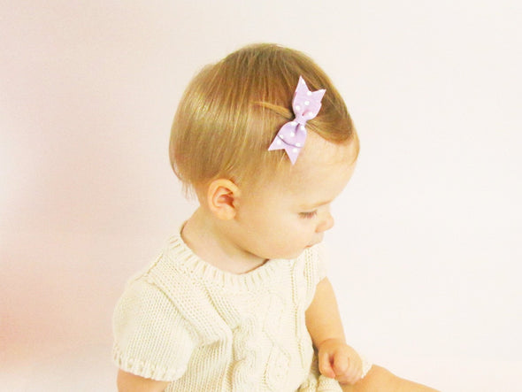Mini Latch Wisp Clip Cadeau Hair Bow - Polka Dots - Baby Wisp