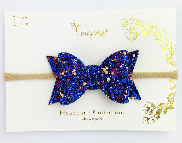 Infant Headband - Courtney Sparkly Bow - Deep Sea Blue - Baby Wisp