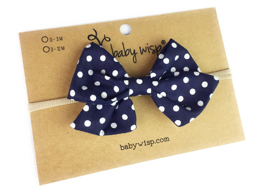 Emma Bow Infant Headband - Polka Dot - Baby Wisp