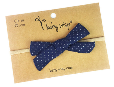 Infant Hand Tied Fabric Bow Headband - Starlite - Navy - Baby Wisp
