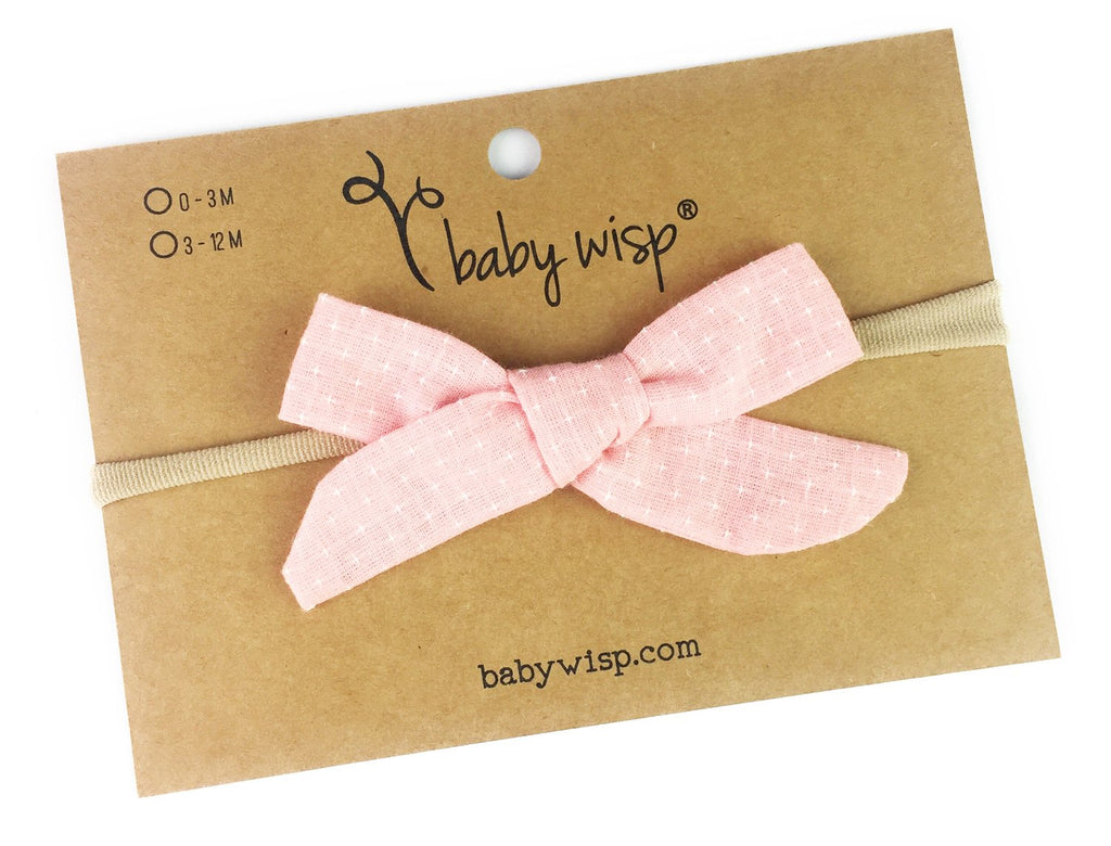 Infant Hand Tied Fabric Bow Headband - Starlite - Pink