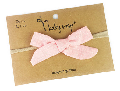 Infant Hand Tied Fabric Bow Headband - Starlite - Pink - Baby Wisp