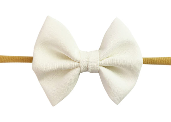Infant Headband - Fanny Bow - White - Baby Wisp