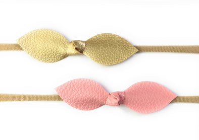 Faux Leather Knot Bow Headbands - Pink and Gold - Baby Wisp