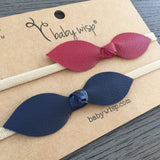 Faux Leather Knot Bow Headbands - Red and Navy - Baby Wisp