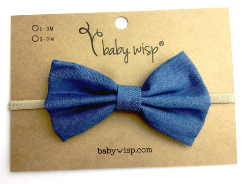 Infant Headband - Light Blue Denim Bow