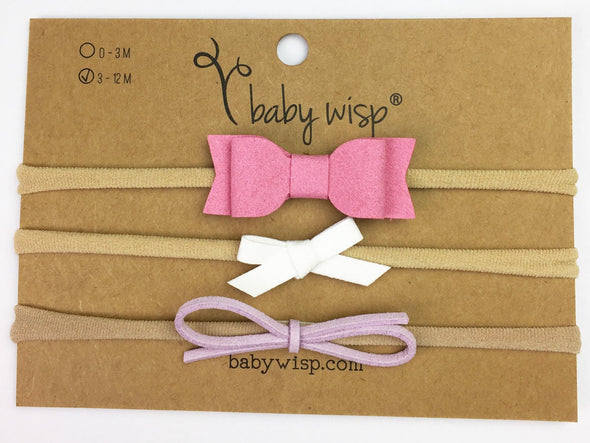 Valentine Pinks and Whites Headband Gift Sets for Infant - 3 Different Bow Styles - Baby Wisp
