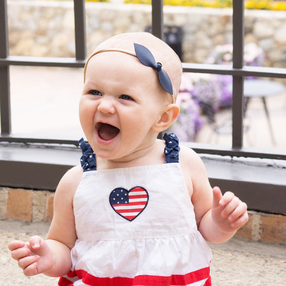 Fourth of July Baby Headband set - 3 Faux Leather knots - Baby Wisp
