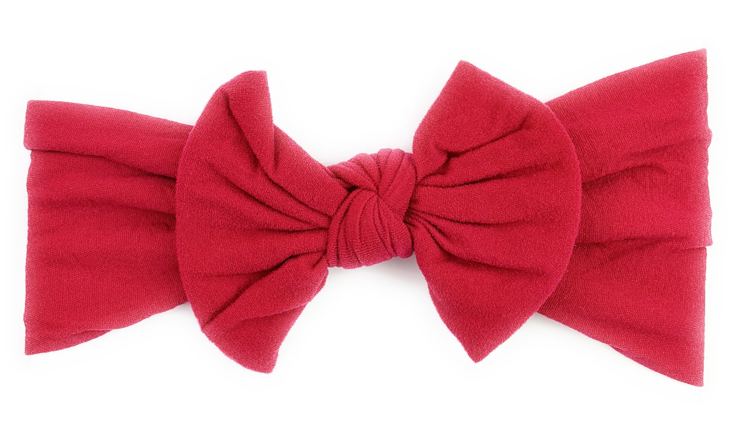 Burgundy Baby Bow Cotton Bow Red Baby Bow Baby Bow on Nylon Headband Deep Red Baby Bow Girls Bow Clip Nylon Baby Bow Newborn Baby Bow