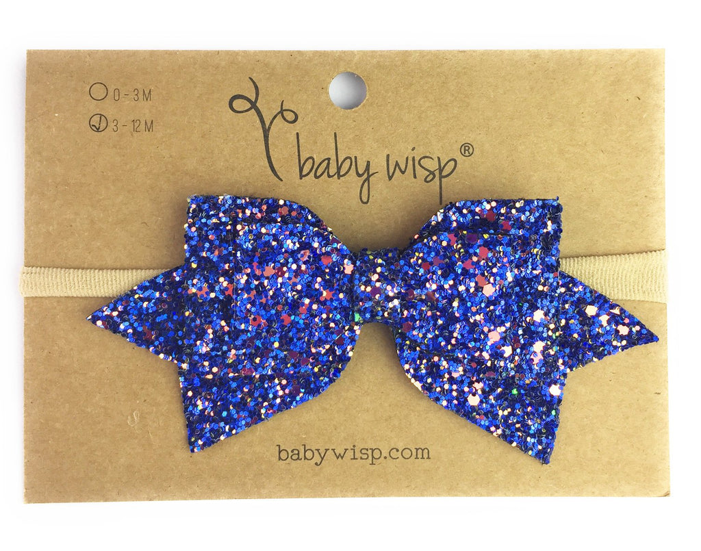 Infant Headband - Sparkly Speckled Glitter Hair Bow - Baby Wisp