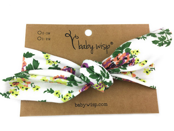 Top Knot White Floral Headband - Baby Wisp