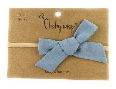 Baby Girls Headband Hand Tied School Girl Fabric Bow - Victoria - Blue - Baby Wisp