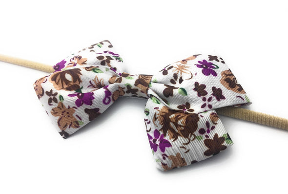 Infant Fabric Bow Headband - Vintage Floral - Plum - Baby Wisp