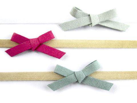 Newborn Headbands - 3 Faux Suede Hand Tied Bows - Baby Wisp