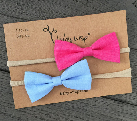2 Baby Headband Nude Nylon Elastic Fabric Tuxedo Bows- Chambray Blue and Pink - Baby Wisp