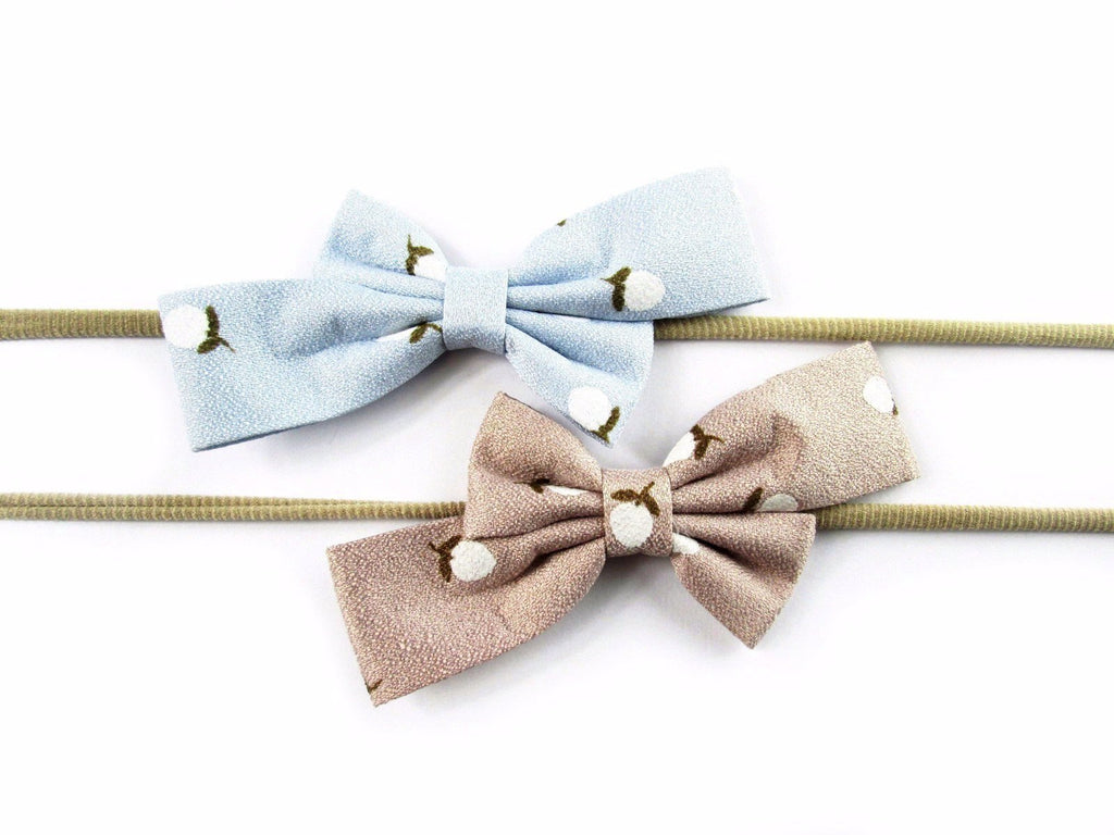 Infant headbands - 2 Fabric Bows - Baby Wisp