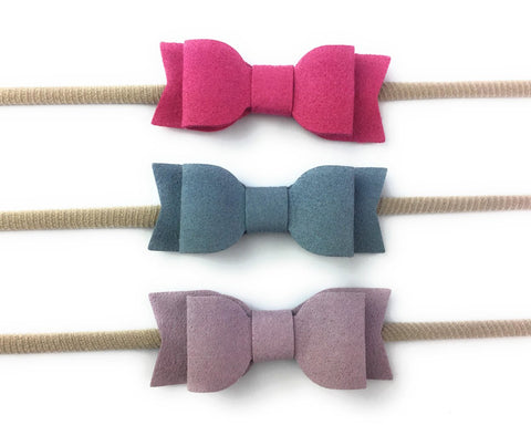3 Infant Headbands - Faux Suede Mia Bows - Baby Wisp