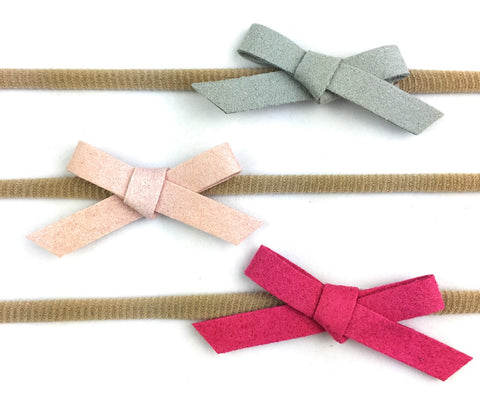 3 Baby Headbands - Faux Suede Hand Tied Bows (Infant) - Baby Wisp