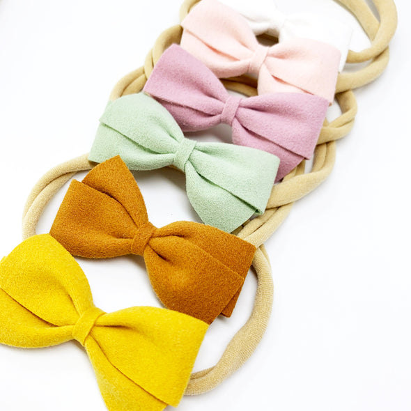 Thali Faux Suede Bow Headband for Babies - Baby Wisp