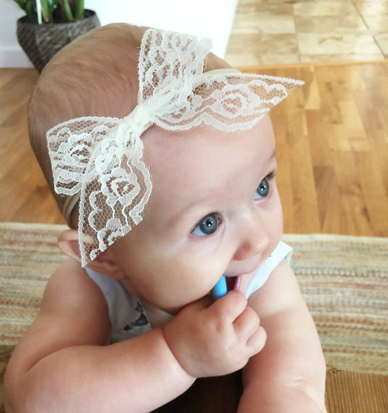 Infant Headband - Hand Tied Dainty Lace Bow - Handmade in San Diego – Baby  Wisp c5d8b74e8f9