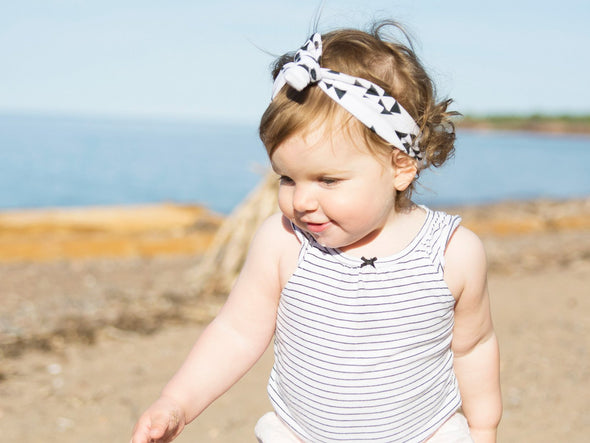 Top Knot Grey Floral Headband - Baby Wisp