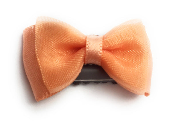 Mini Latch Tuxedo Fancy Hair Bow - Peach - Baby Wisp