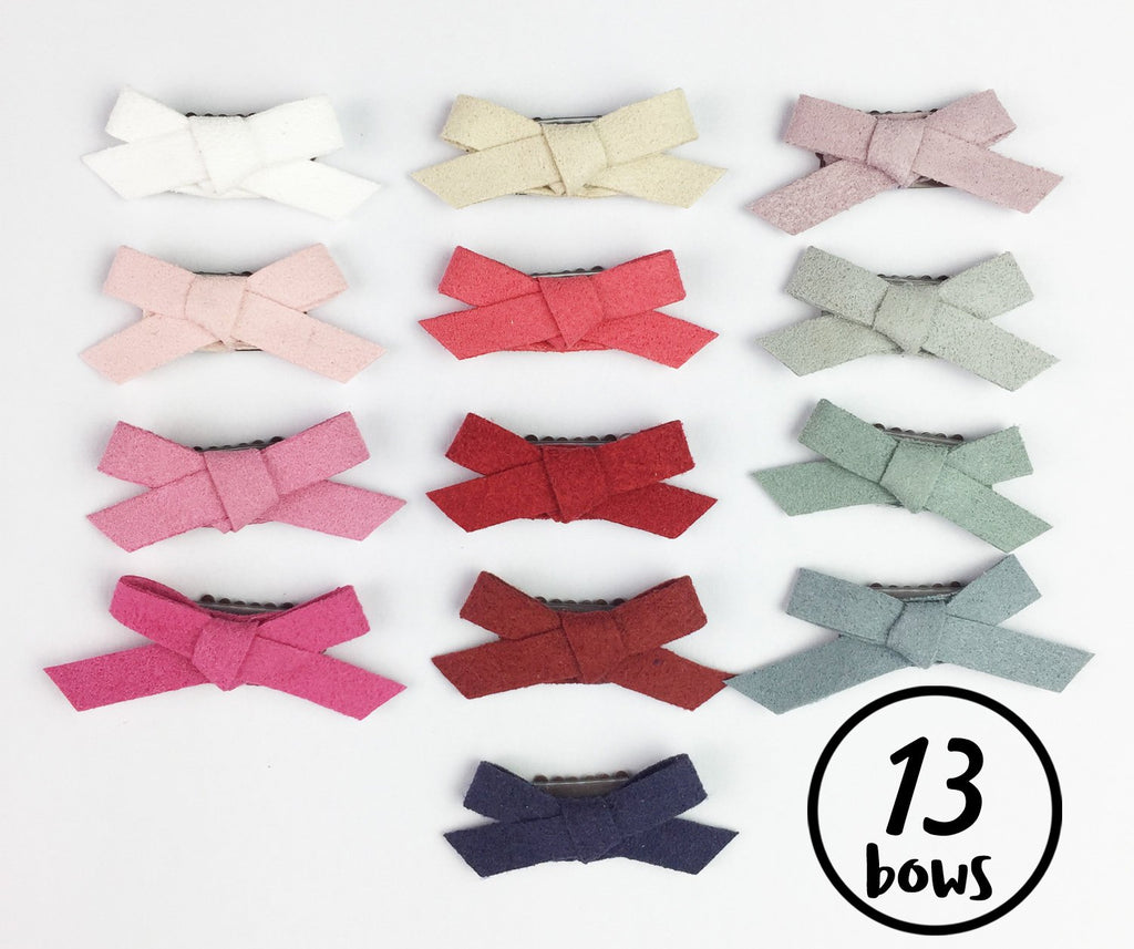 13 Mini Latch Wisp Clip Hand Tied Faux Suede Bows Collection - Baby Wisp