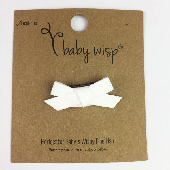 Mini Latch Wisp Clip - Hand Tied Faux Suede Hair Bows - White - Baby Wisp