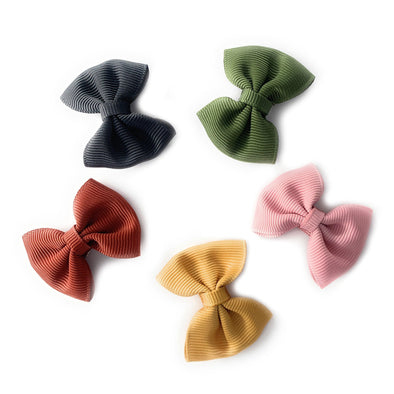 5 Classic Fan Out Bows - Small Snap Clip Gift Set - Baby Wisp