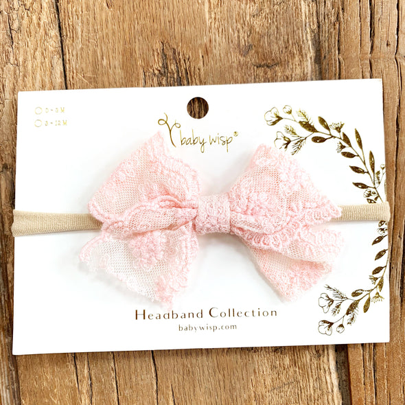 Lace Bow Headband for Babies - Light Pink - Baby Wisp