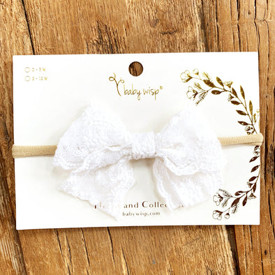 Lace Bow Headband for Babies - White - Baby Wisp